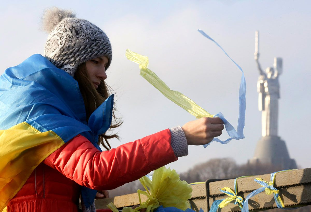 Girl with Ukranian flag